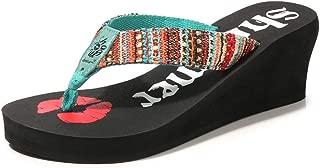 SHANLEE Women Platform Flip Flop Slipper Summer Thick-Bottomed Flowers Anti-Slip Beach Thong Wedge Sandal
