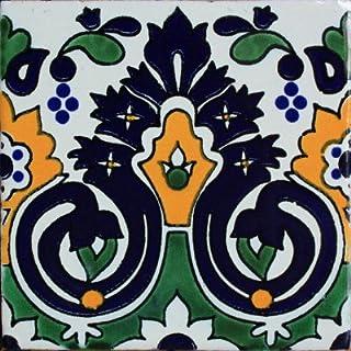 Fine Crafts Imports 4.2x4.2 9 pcs Carnation Santa Barbara Mexican Tile