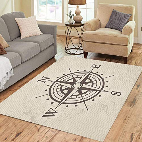Liz Carter 63X48 inch Teppich Kompass Windrose Karte Schatz Vintage Abenteuer Nord Wohnkultur Boden Teppich Teppich