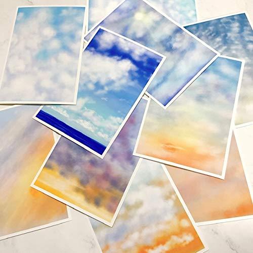 【空10種セット ポストカード】キャンバス風 ハガキ 凹凸あり 空 青空 雲 夕陽 自然 風景 海 かわいい キレイ