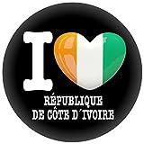 FanShirts4u Button/Badge/Pin - I Love ELFENBEINKÜSTE Fahne Flagge IVORY COAST (I Love République de Côte d´Ivoire)