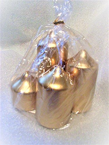 Stumpen * rund * 4 Kerzen in 4 Größen gold Advent, Weihnacht, Deko, Kerze