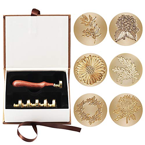 Wax Seal Stamp Set, 6pcs Plant Pattern Series Sealing Wax Stamps Copper Seals + 1 Wooden Hilt, Vintage Retro Wax Stamp Kit for Cards Envelopes, Invitations, Wine Packages (6Pcs Plant Pattern Series)
