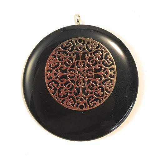 MyHomeLux Orgonit Schmuck Anhänger 5cm mit Mandala goldfarbend aus Kupfer 3cm Schungit Pulver Trageschnur