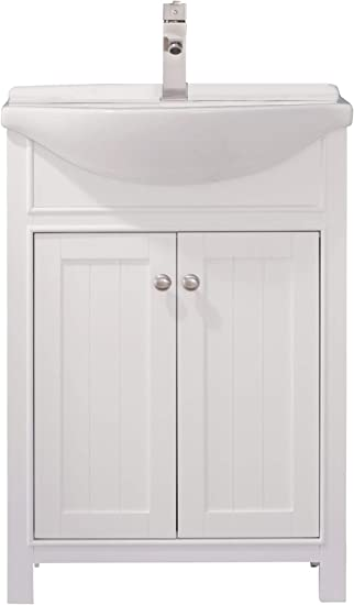 Amazon Com Luca Kitchen Bath Lc24hwp Carson 24 Bathroom Vanity Set In White With Integrated Porcelain Top Everything Else