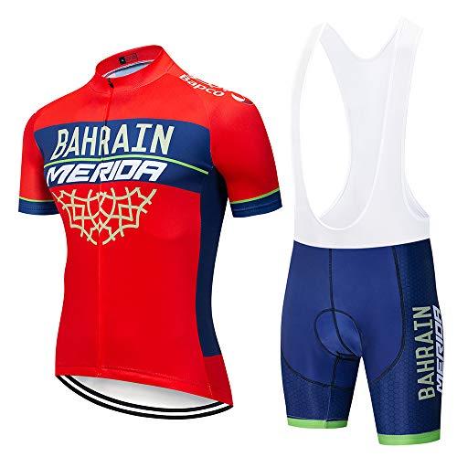 Completo Ciclismo Uomo, Abbigliamento Ciclismo Set con Pantaloncini Corti Imbottiti Traspiranti per MTB Ciclista