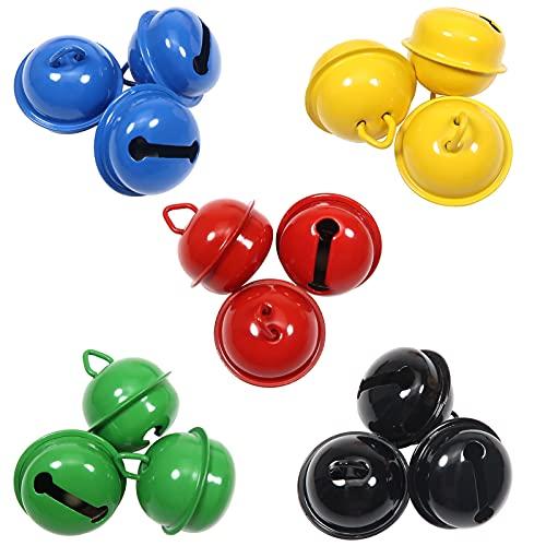 TOAOB 15 Piezas 22 mm Pequeñas Campanas Mini 5 Colores Metal Cascabeles Collar de Gato y Perros de Colores para Manualidades de Bricolaje Decoraciones Creativas Cumpleaños Navidad