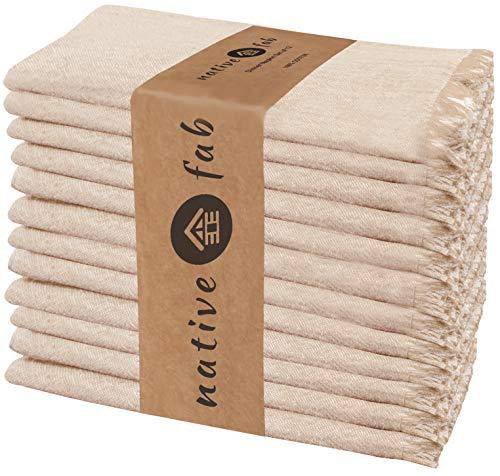 Native Fab 12er-Set Baumwolle Stoffservietten 46x46 cm für Veranstaltungen Hochzeit regelmäßige Heimnutzung, Weich Bequem Maschinenwaschbar Wiederverwendbare Servietten Beige