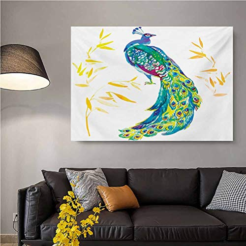 Peacock Decal Stickers for Home Walls Digital Watercolor Paint Creature Female Peacock Large Tail with Eyespots Image Gifts for dad Multicolor L32 x H48 Inch