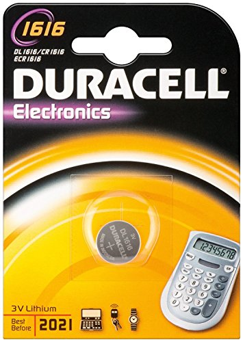 Duracell dur030336 Lithium 3 V Non-Rechargeable Battery – Non-Rechargeable, Button/Coin, 3 V, Lithium Batteries (CR1616, Silver)