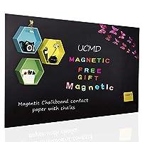 UCMD マグネット式黒板 48インチ x 36インチ 壁用 マグネット式壁シート 黒板接触紙 チョークマグネット付き アルファベットマグネット学習 子供用 1.2X1 M