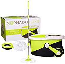 MOPNADO – Deluxe Stainless Steel Rolling Spin Mop System with 2 Replacement Microfiber Mop Heads and Brush Attachment – Walkable with Wheels - Perfect For All Floor Types - Multipurpose Home Use