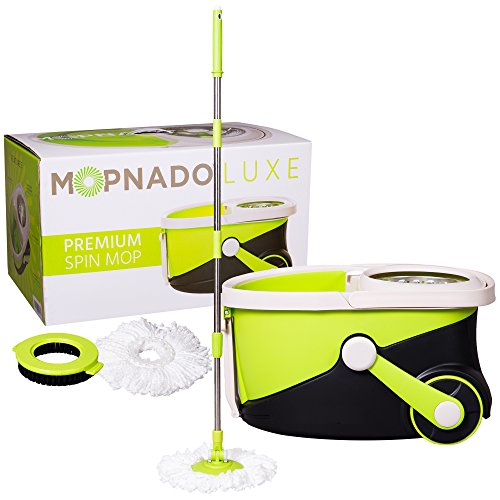 MOPNADO – Deluxe Stainless Steel Rolling Spin Mop System with 2 Replacement Microfiber Mop Heads...