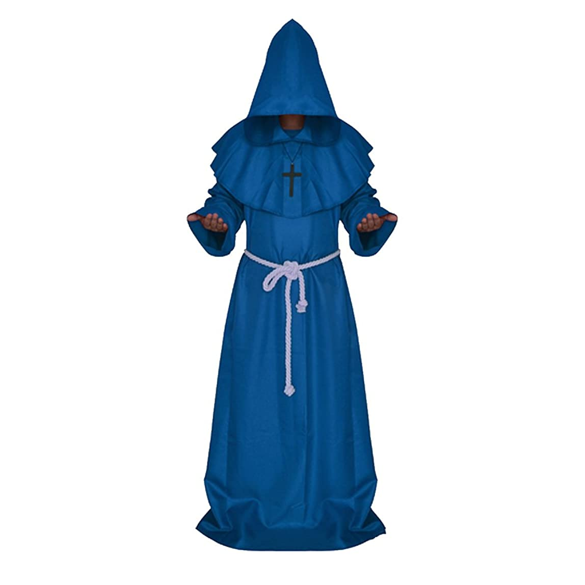 Men Medieval Hooded Robe Monks Witch Pastor Cloak Knight Fancy Cool Cosplay Halloween Party Costume Clothes Blue nvztbts424844