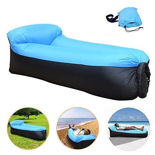 CAIGOGOO Impermeabile Durevole Divano Gonfiabile,Portatile Lounger Cuscino Integrato,Air Sofa Per Spiaggia, Campeggio, Giardino, Viaggi (Blue)