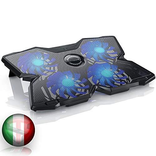 TECHSIDE Base Di Raffreddamento Notebook 4 Ventole Fan Blu | Ice Storm I |NUOVA VERSIONE 2021 | Supporto Regolabile 2 Livelli Inclinazione | Per Laptop Notebook UNIVERSALE