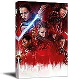 cuadros decoracioncuadroslienzowall art 60x90cm Frameloos Star Wars The Last Jedi Lightsaber Rey Office Decoración para el hogar Obra de arte estirada