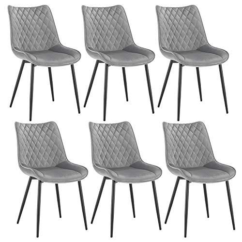 WOLTU Esszimmerstühle BH209hgr-6 6er Set Küchenstuhl Polsterstuhl Wohnzimmerstuhl Sessel mit Rückenlehne, Sitzfläche aus Samt, Metallbeine, Hellgrau