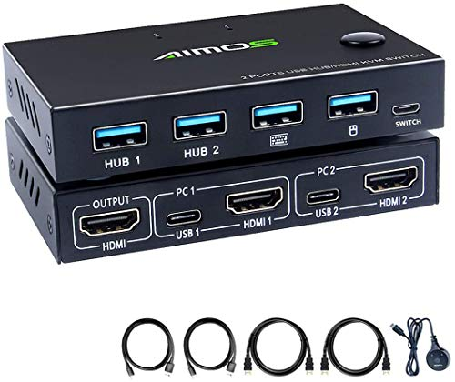 AIMOS HDMI KVM Switch, 2 In 1 Out Umschalter Aktie Monitor Maus Tastatur HDMI Switcher 4K @ 30Hz für Laptop, PC, PS4, Xbox, Hotkey Nicht unterstützen, Kann mit HUB verbunden Werden