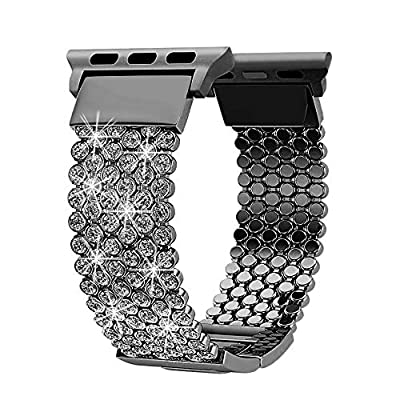 FresherAcc Compatible with Apple Watch Band 40mm 38mm iWatch Bands Series 4 3 2 1 Women Girls, Crystal Rhinestone Replacement Strap, Mesh Chain Jewelry Wristband