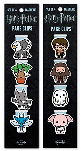 Re-Marks Harry Potter Creatures and Characters Magnetic Page Clips, 2 Packs of 4 Bookmarker Magnets, 8 Clips Total