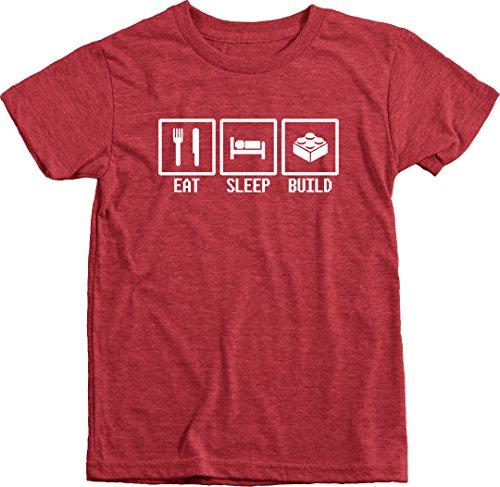 Eat, Sleep, Build - White - Kids Tri-Blend T-Shirt (Vintage Red, M(8))
