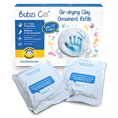 Bubzi Co 2X Repuestos de Arcilla Blanca para decoración de Huellas de bebé – Pasta para modelar Tipo Arcilla de Secado al Aire – Recuerdos memorables – Ideal para decoración o Regalo de Baby Shower