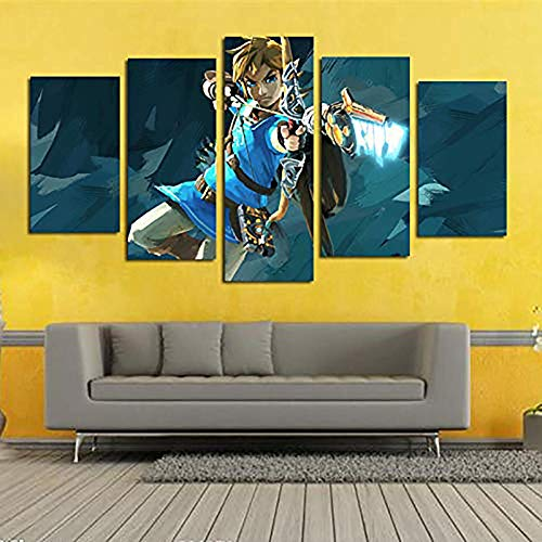 5 Paneles Arte Leyenda de Zelda Gaming Cuadros En Lienzo Wall Art Abstract Picture Artwork para La Decoración del Hogar,B,20 * 35 * 2+20 * 45 * 2+20 * 55 * 1