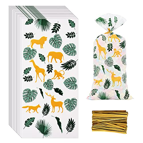 100 Pcs Jungle Animal Treat Bags Safari Animal Cellophane Candy Bags Jungle Plastic Goodie Storage Bags Safari Party Favor Bags with Twist Ties for Safari Theme Birthday Party Supplies