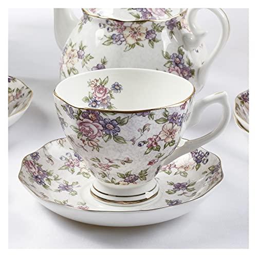 Essinged Hueso China Tazas de café Platos Eleware Europeo Estilo Pastoral Europeo Impresión Floral Tarde Conjunto de té de Porcelana Tazas y Placas 170ml (Color : 6)