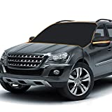 BruRkim Car Windshield Snow Cover for Winter, Sunshade Cover for Summer, Double Side Designed, Waterproof for Ice, Snow, Frost, UV Protection, Large Size Fits for Small Cars, Standar Pickup, SUV