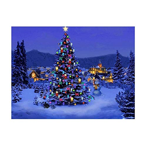 HENA DIY 5D Diamond Painting Kits for Kids, Adults, Round Full Drill Rhinestone Embroidery Cross Stitch Craft for Canvas Wall Decor Christmas Snowscape of Christmas Tree Town