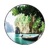 Premium Area Rug Long Boat on Island in Thailand (2) Non-Slip Playing Floor Mat for Bedroom Diameter 78.7 in(200cm)