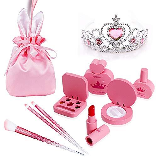 JoinJoy Kinderschminke Set Mädchen Hölzern Schminke Kinder Kosmetikset Handtasche Mädchen Kinder Makeup-Set Rollenspiel Spielzeug Geschenk ab 3 4 5 Jahre