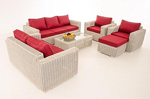 Mendler 3-2-1-1 Sofa-Garnitur CP050 Lounge-Set Gartengarnitur Poly-Rattan ~ Kissen rubinrot, perlweiß