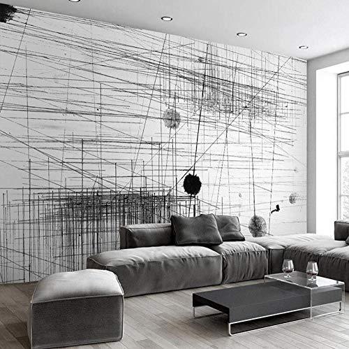 3D vliesbehang personaliseerbaar schilderij fotobehang zwart wit strepen lijnen abstract kunst wandschilderij woonkamer sofa tv-achtergrond 3D fotobehang 200 x 140 cm.