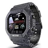 Wan&ya Hombre Reloj Deportivo Digital 50M Impermeable Clásico Cuadrado Reloj de Pulsera multifunción Monitor de Ritmo cardíaco/sueño Contador de Pasos Calorías Reloj Inteligente Bluetooth Unisex