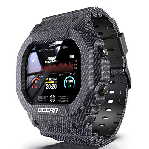 Wan&ya Reloj Digital Deportivo Inteligente Reloj de Pulsera Militar Cuadrado multifunción para Exteriores con Bluetooth Resistente al Agua Monitor de Ritmo cardíaco/sueño Podómetro Calorías,Negro