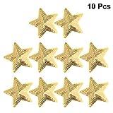 Healifty - Lote de 10 parches bordados con diseño de estrella y lentejuelas, para ropa, mochilas, vaqueros, camisetas doradas