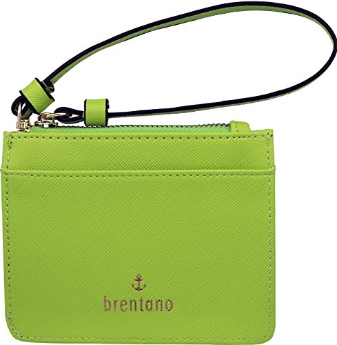 B BRENTANO Vegan Saffiano Leather Slim ID Credit Card Case with Wristlet Strap (Neon Green)
