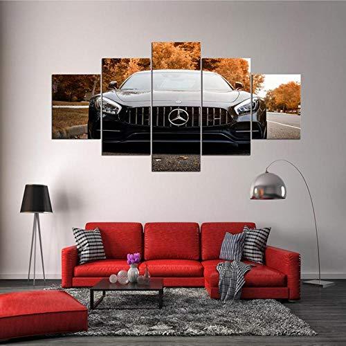 GHYTR Impresión En Lienzo 5 Piezas Cuadro sobre Lienzo Coche Deportivo De Lujo Amg GT Imágenes XXL 150X80Cm Oficina Sala De Estar O Dormitorio Decoración del Hogar Arte De Pared