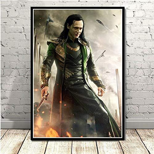 wqmdeshop Loki Tom Hiddleston (Loki Tom Hiddleston) Plakat Leinwand Ölgemälde Plakat Wandbild Wohnzimmer Bild 40X50Cm -Jp2617