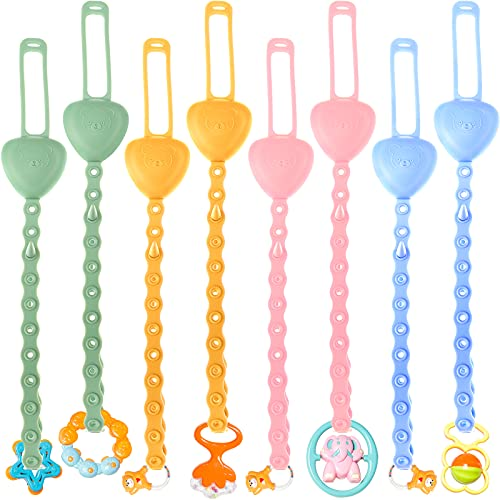 8 Pieces Baby Toy Straps Stretchable Silicone Pacifier Clips Holder Can Be...