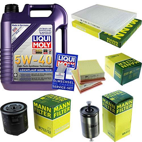 Preisvergleich Produktbild Filter Set Inspektionspaket 5 Liter Liqui Moly Motoröl Leichtlauf High Tech 5W-40 MANN-FILTER Innenraumfilter Kraftstofffilter Luftfilter Ölfilter