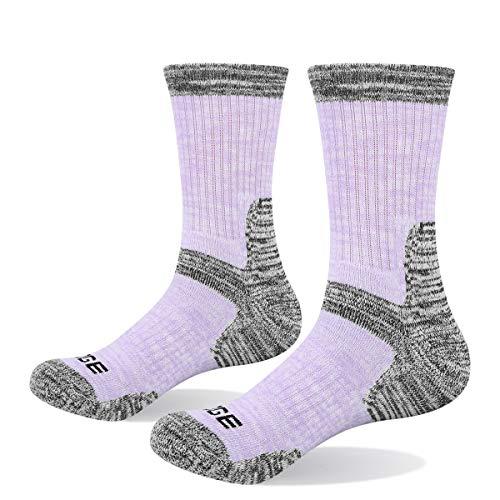 YUEDGE 5 Pairs Women's Walking Socks Cushion Crew Outdoor Recreation Multi Performance Trekking Climbing Camping Hiking Socks, Purple/Light Blue/Grey/Yellow/Rose Red, L Women Shoe 3.5-7.5 UK Size.