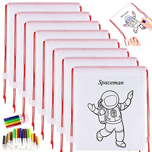 GOLDGE 32pz Kit | 16 Mochilas para Colorear+ 16 Lápices de Color Lavables, 16 Piezas Kit de Mochilas para Colorear y Rotuladores de Colores, para Rotuladores de Regalo niños Fiestas y cumpleañ