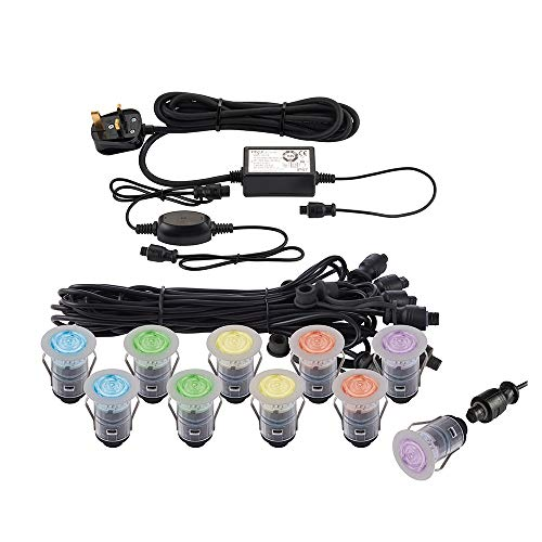 IKON PRO Smart Decking Kit - Pack of 10 Multi Colour (RGB) LED Lights - Round 35mm Stainless Steel -...