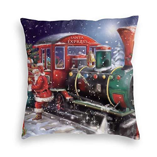 Lewiuzr Tren Rojo Papá Noel Presenta el día de Navidad Fundas de Almohada cuadradas Decoraciones Funda de cojín 24X24 Pulgada