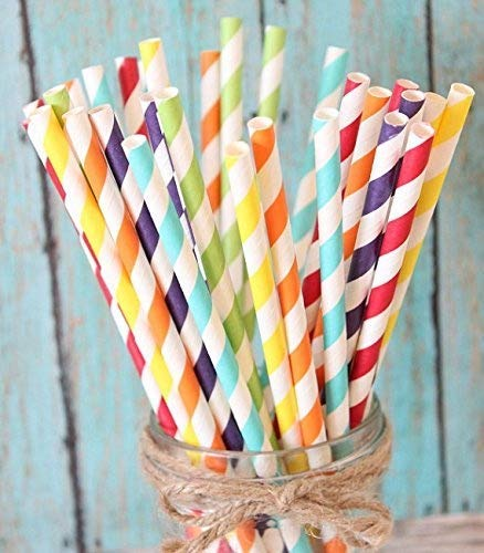 Charmed Rainbow stripe paper straw set of 150 straws with all the color of the rainbow!