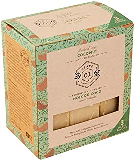 Crate 61 Coconut Soap 3 pack, 100% Vegan Cold Process, scented with premium food grade organic flavors, for men and women, face and body. ISO 9001 certified manufacturer